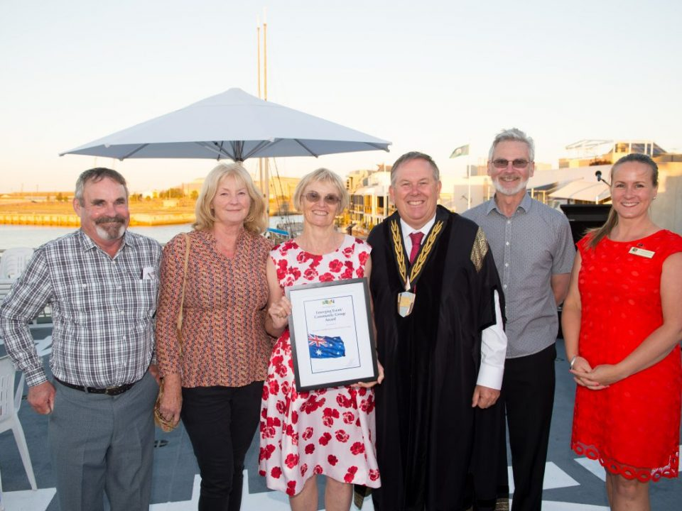 Project group members with Mayor and Deputy Mayor on HMAS Leeuwin, Australia Day Award ceremony, January 25 2017