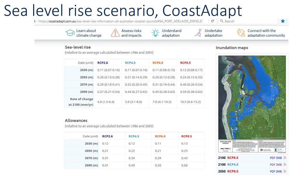 map shows potential impact of sea level rise on Lefevre Peninsula