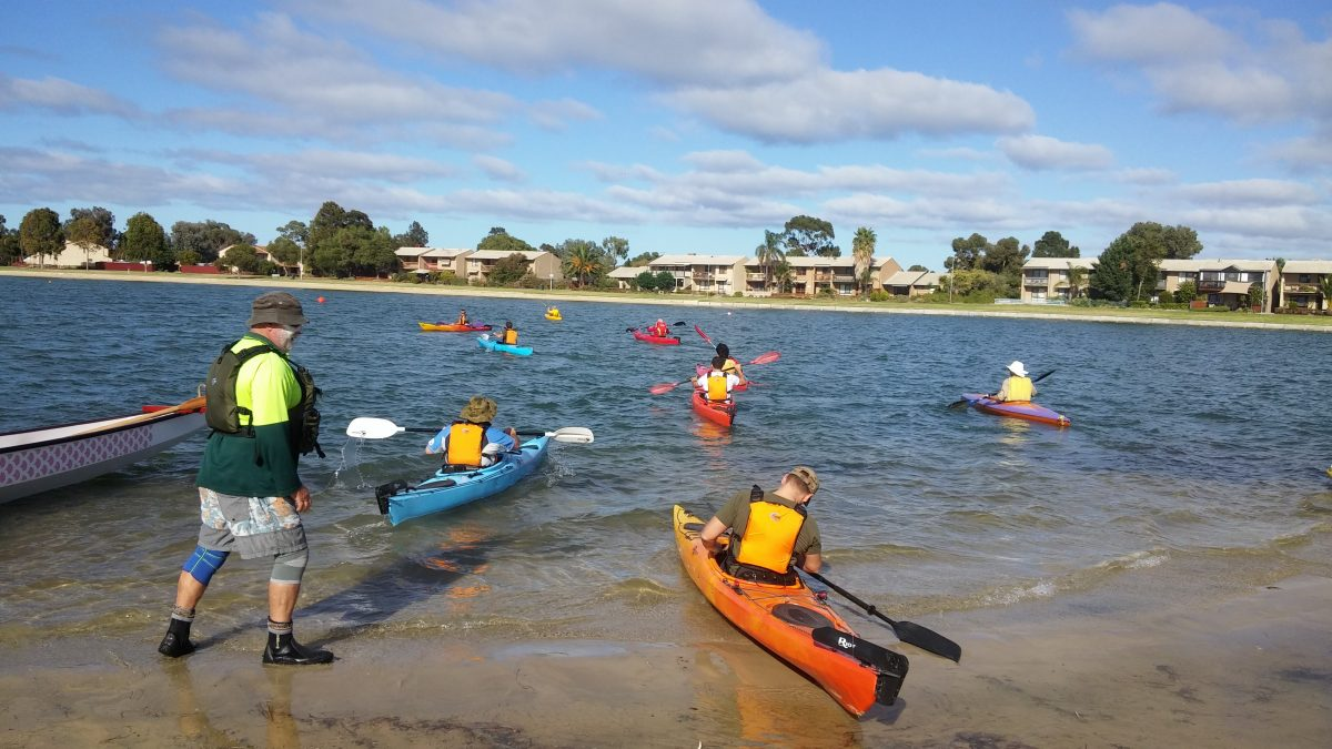 Kayaks on water at Aquatic Park for morning lesson for Defence Shed personnel