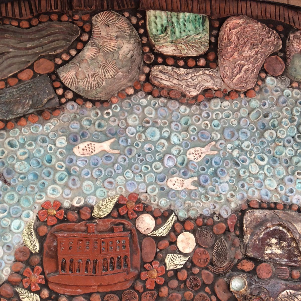 Details showing shellfish in mural