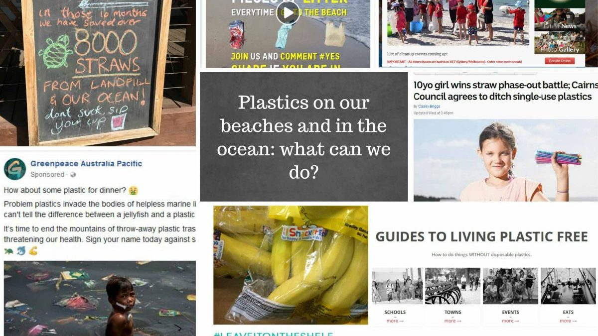 flier showing petitions and actions to reduce use of plastics