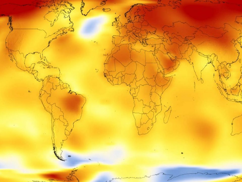 Map of Earth showing global surface temperature in 2017, https://www.giss.nasa.gov/