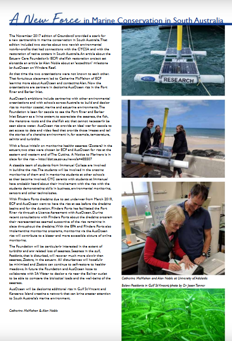 article in Dec 2018 edition of CYC Magazine, Groundswell, about ECF and AusOcean
