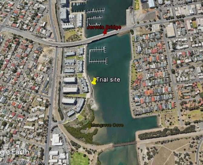 Shoreline protection trial site by ECF in Inner Harbour, Port Adelaide
