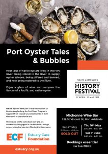 Flier advertising Port Oyster Tales & Bubbles
