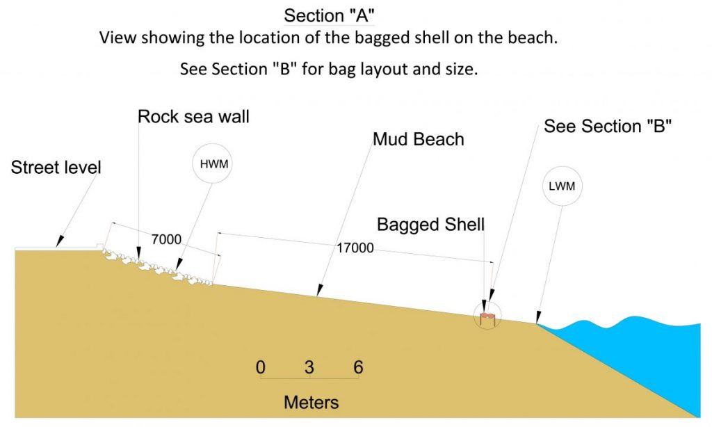 ECF trial - section drawing showing the location of the bagged shell on the shoreline